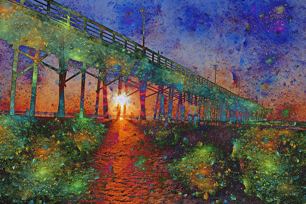 Pier Digital Art - Vibrant Sunrise by Betsy Knapp