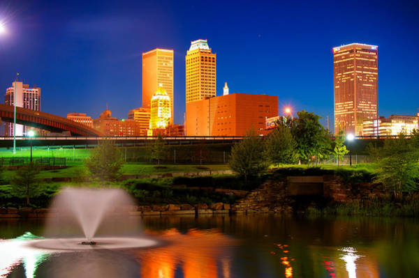 Photograph - Vibrant Tulsa Skyline by Gregory Ballos