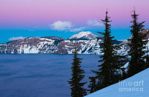 Crater Lake Photograph - Vibrant Winter Sky by Inge Johnsson