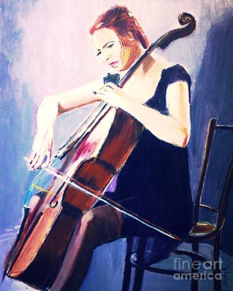 Cellist Painting - Vibrato In Blue by Judy Kay