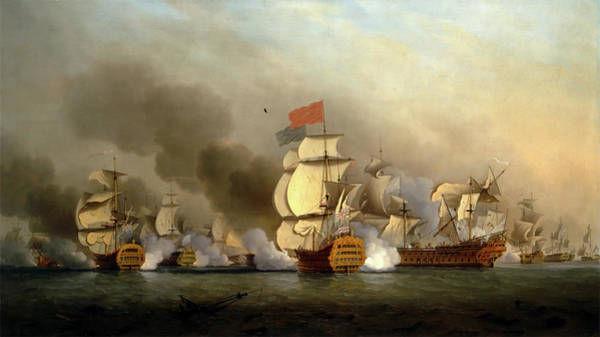 Wall Art - Painting - Vice Admiral Sir George Ansons Victory Off Cape Finisterre by Litz Collection