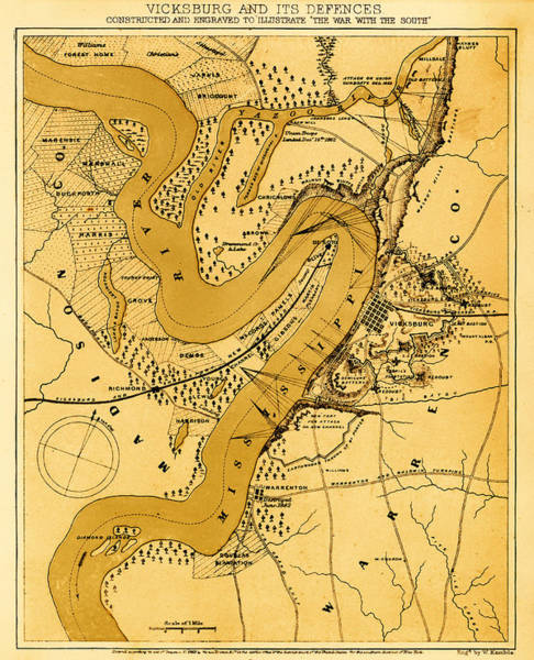 Road Map Photograph - Vicksburg And Its Defenses by Mountain Dreams