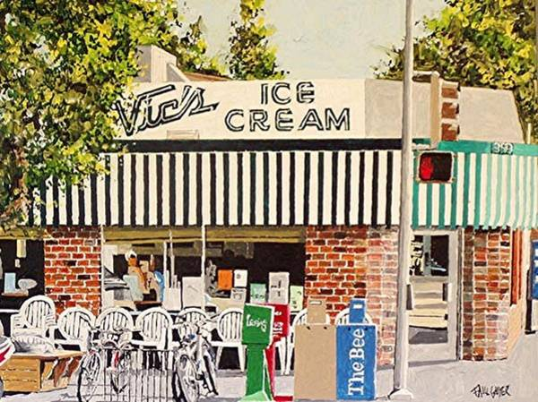 Sacramento Painting - Vic's Ice Cream by Paul Guyer