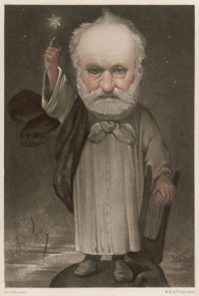 Gill Drawing - Victor Hugo French Writer  Gill's by Mary Evans Picture Library