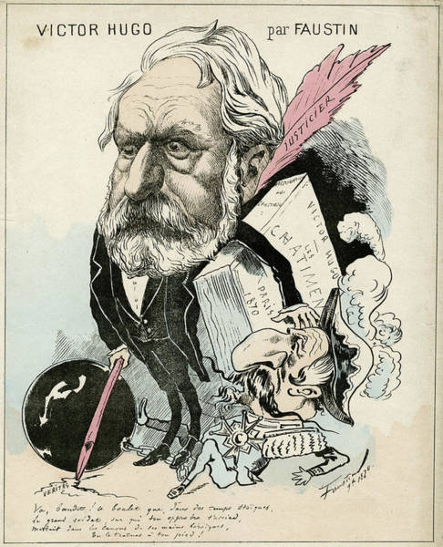 Wall Art - Drawing - Victor Hugo Is Depicted  Carrying by Mary Evans Picture Library