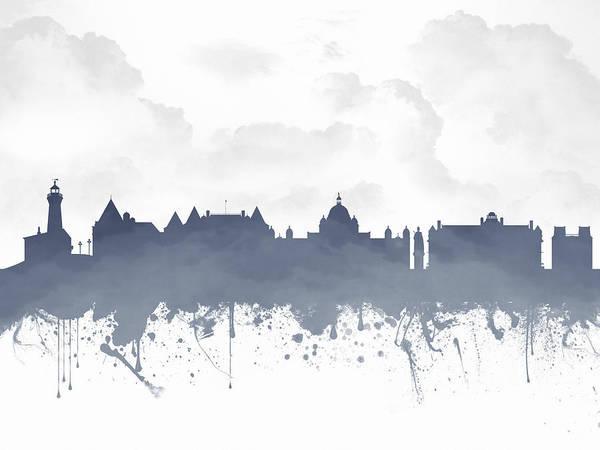 Wall Art - Digital Art - Victoria British Columbia Skyline - Blue 03 by Aged Pixel