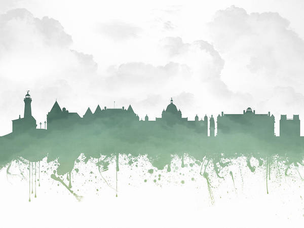 Wall Art - Digital Art - Victoria British Columbia Skyline - Green 03 by Aged Pixel
