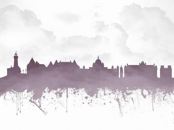 Wall Art - Digital Art - Victoria British Columbia Skyline - Purple 03 by Aged Pixel
