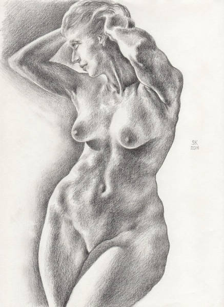 Drawing - Victoria In 8b Standing Female Nude by Scott Kirkman