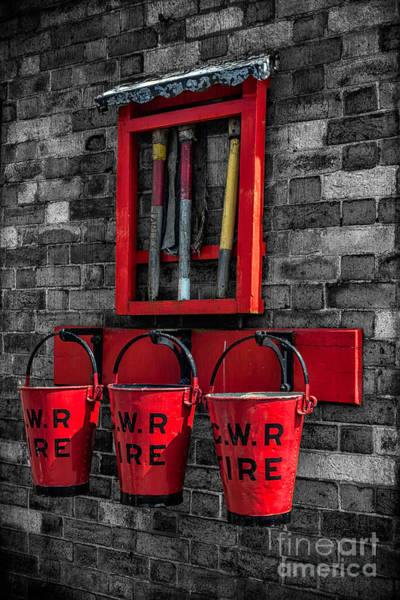 Red Brick Photograph - Victorian Fire Buckets by Adrian Evans