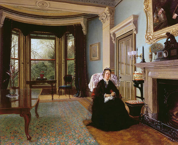 Commemorative Wall Art - Photograph - Victorian Interior With Seated Lady by Charles Frederick Lowcock
