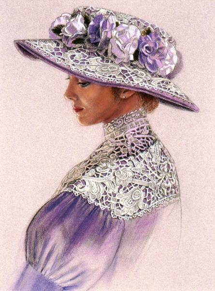 Wall Art - Painting - Victorian Lady In Lavender Lace by Sue Halstenberg