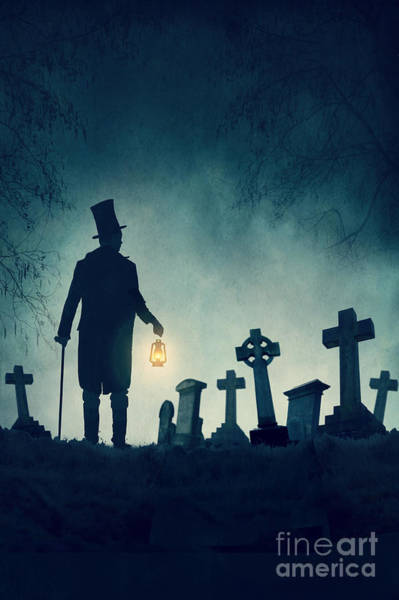Grave Robbers Wall Art - Photograph - Victorian Man In A Graveyard At Night by Lee Avison