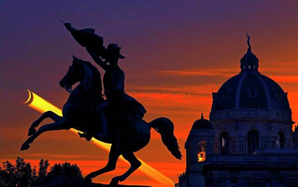 Astronomical Twilight Photograph - Vienna Monuments And Crescent Moon by Babak Tafreshi