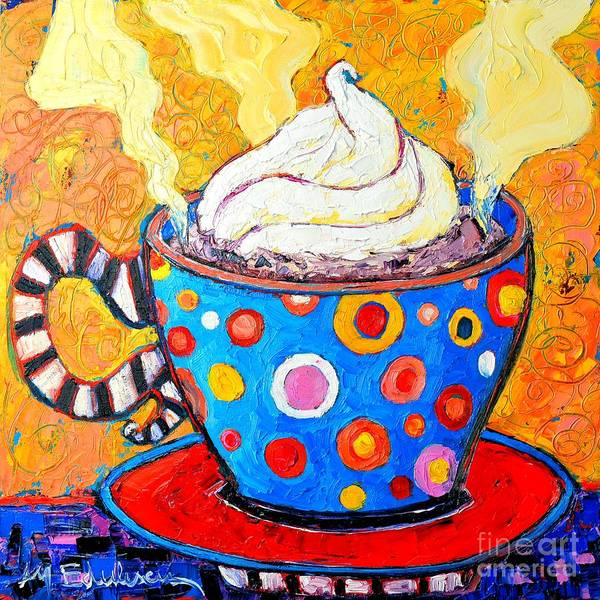 Ceramics Wall Art - Painting - Viennese Cappuccino Whimsical Colorful Coffee Cup by Ana Maria Edulescu