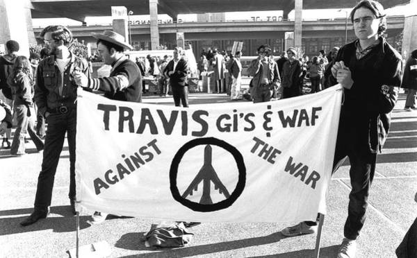 Military Air Base Photograph - Vietnam War Protesters by Underwood Archives Adler