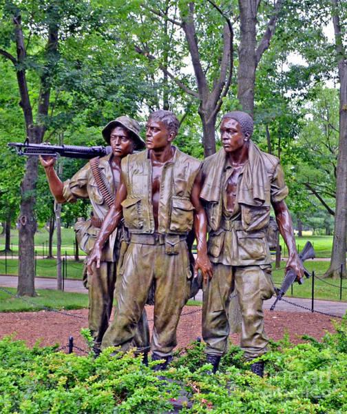 Wall Art - Photograph - Vietnam War Memorial Three Servicemen Statue In Washington D.c. by Jim Fitzpatrick