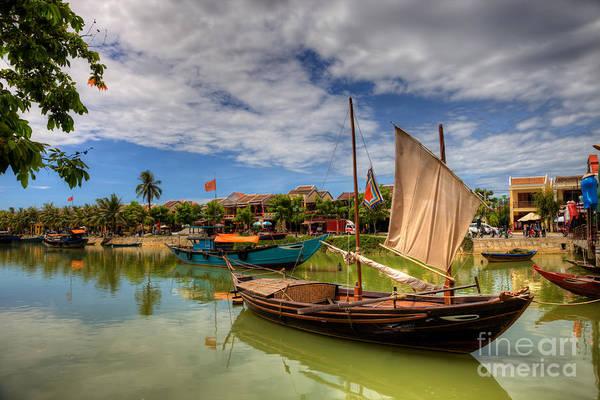 Hoi An Photograph - Vietnamese Fishing Boats And Ancient City Of Hoi An Vietnam by Fototrav Print