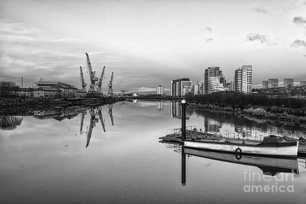 The Crane Photograph - View Down The Clyde Mono by John Farnan