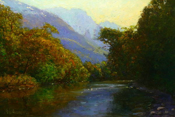 Nz.impressionist Painting - View Downstream Lower Holyford by Terry Perham