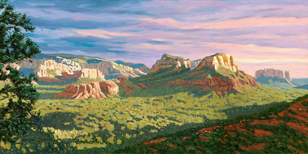 Twins Painting - View From Airport Mesa - Sedona by Steve Simon