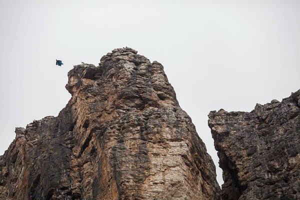 Base Jumping Photograph - View From Below Of Base Jumper by Woods Wheatcroft
