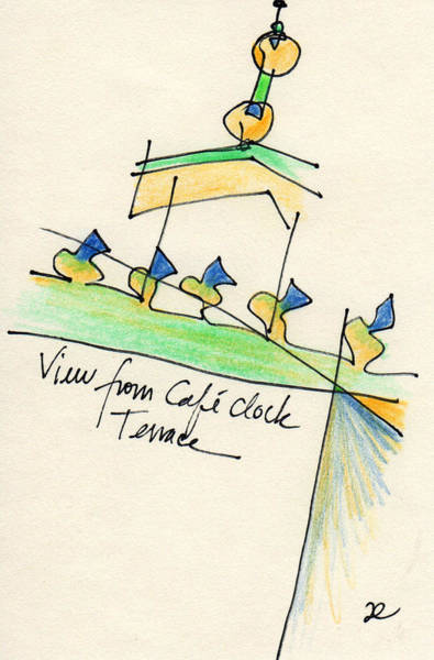 Drawing - View From Cafe Clock Terrace by Anna Elkins