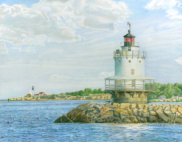 Drawing - View From Casco Bay Ferry by Dominic White