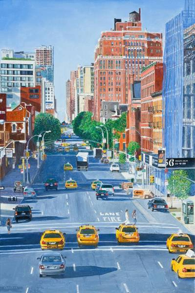 Tall Buildings Painting - View From Highline New York City by Anthony Butera