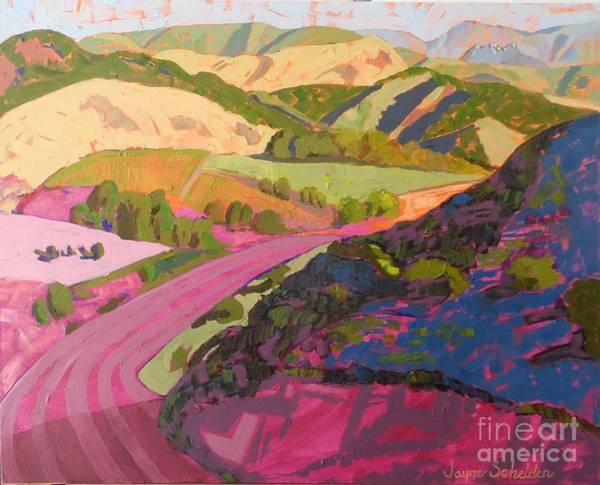 Sycamore Painting - View From Ontario Ridge Toward Bishop Peak by Jayne Schelden