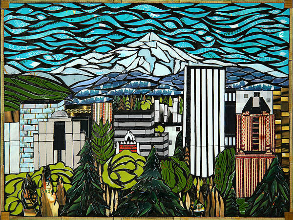 Mosaic Mixed Media - View From Portland Rose Garden by Mary Ellen Bowers