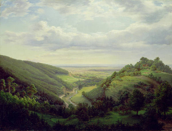 Schloss Wall Art - Photograph - View From The Heilenberg Castle At Jugenheim On The Rhine, 1846 Oil On Canvas by Heinrich Schilbach
