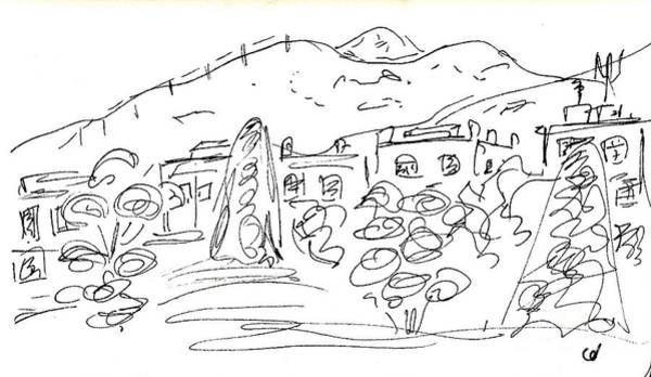 Beautiful Park Drawing - View From The Parque De La Bateria by Chani Demuijlder