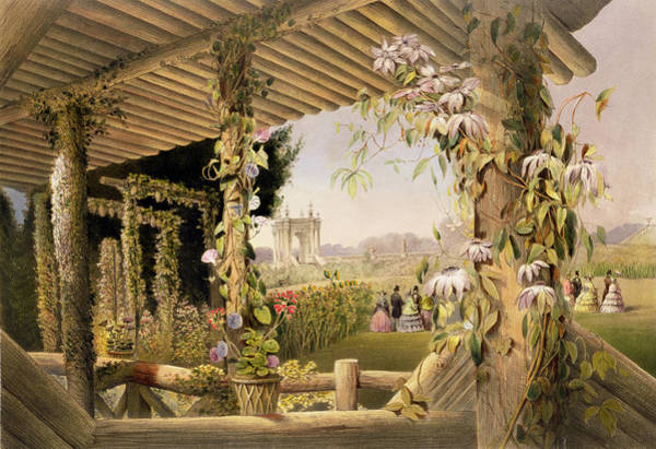 Floral Design Drawing - View From The Rustic Seat Shrublands by E Adveno Brooke