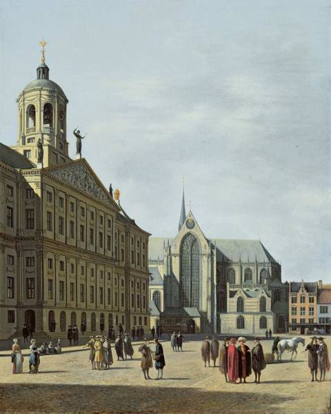 Square Tower Painting - View In Amsterdam, With The Facade by Gerrit Adriaensz Berckheyde