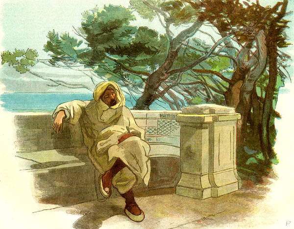 Ashes Drawing - View In The Jardin Marengo Algiers 1885 by English School