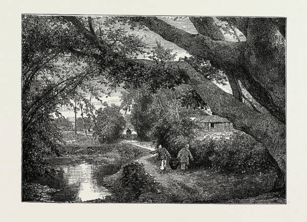 Wall Art - Drawing - View In The Village Of Wong-tong, Province Of Canton by Chinese School