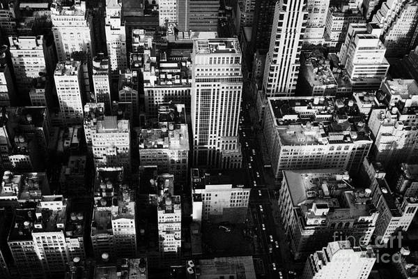 Reach For The Sky Wall Art - Photograph - View North And Down Towards Building Rooftops And Fifth 5th Avenue Ave From Empire State Building by Joe Fox