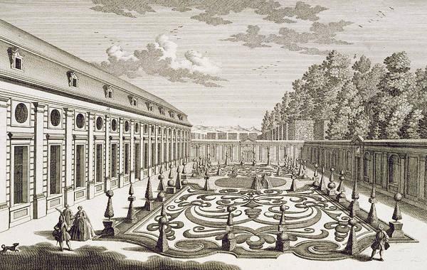 Pleasure Drawing - View Of A Flower Garden Near Vienna by Georg Daniel Heumann