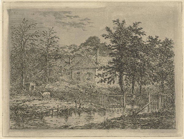 Hoof Drawing - View Of A House Located Between Trees And Shrubs by Gerardus Emaus De Micault