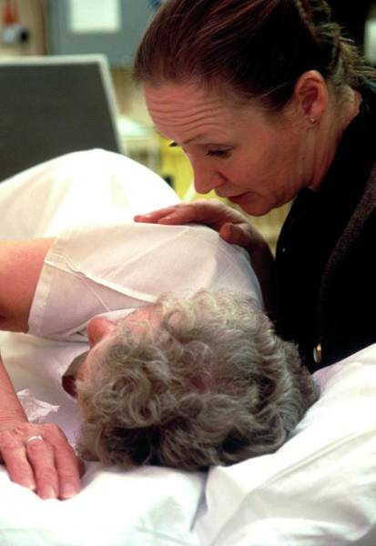 Patient Photograph - View Of A Nurse Comforting An Elderly Woman by Antonia Reeve/science Photo Library