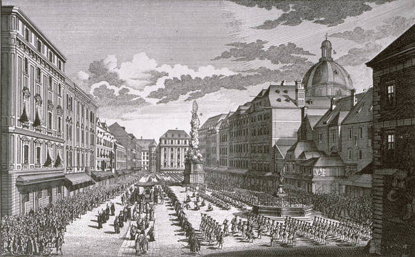 Austrian Drawing - View Of A Procession In The Graben Engraved By Georg-daniel Heumann 1691-1759 Engraving by Salomon Kleiner
