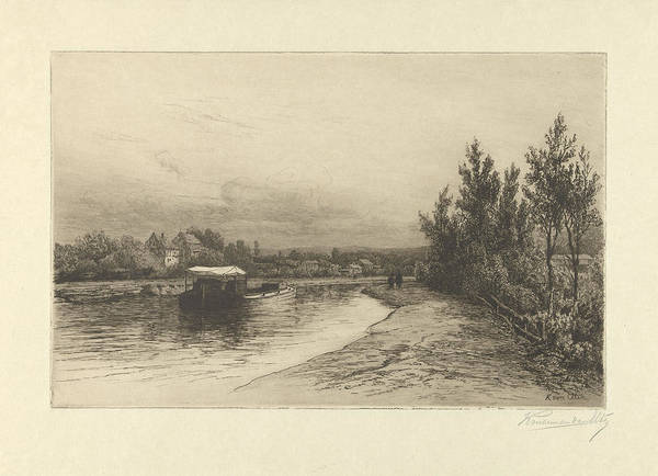 Wall Art - Drawing - View Of A River, Hendrik Dirk Kruseman Van Elten by Hendrik Dirk Kruseman Van Elten