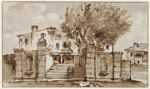 Wall Art - Drawing - View Of A Villa Giovanni Battista Tiepolo by Litz Collection