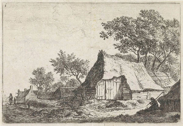 Hiking Drawing - View Of A Village With Walkers, Anthonie Waterloo by Anthonie Waterloo