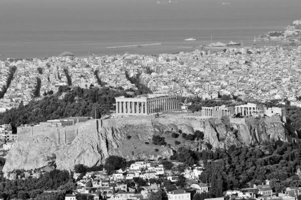 Erechtheion Photograph - View Of Acropolis From Lycabettus Hill During Dawn by George Atsametakis