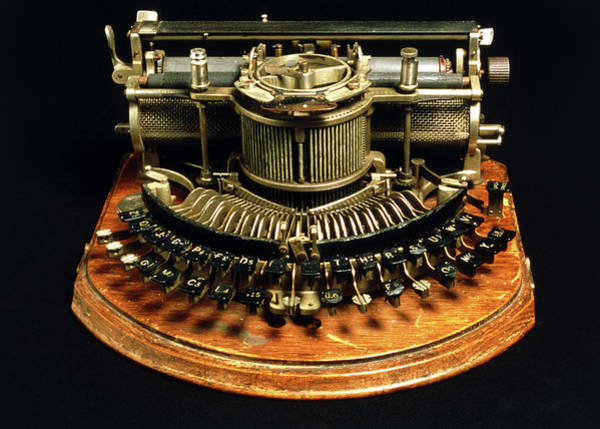 Printing Photograph - View Of An Early Typewriter by Ton Kinsbergen/science Photo Library