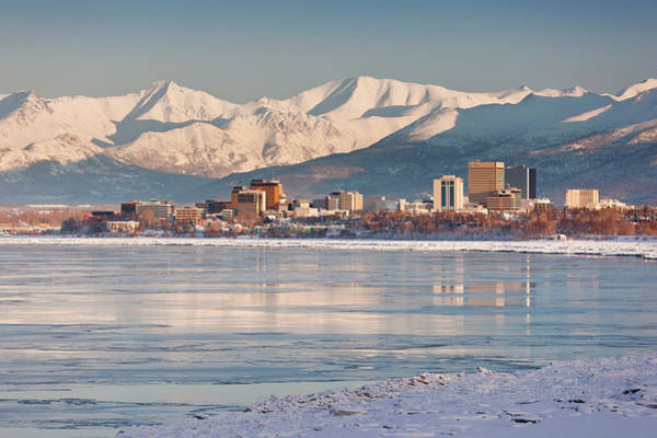 Alaska Photograph - View Of Anchorage Skyline Chugach by Kevin Smith / Design Pics