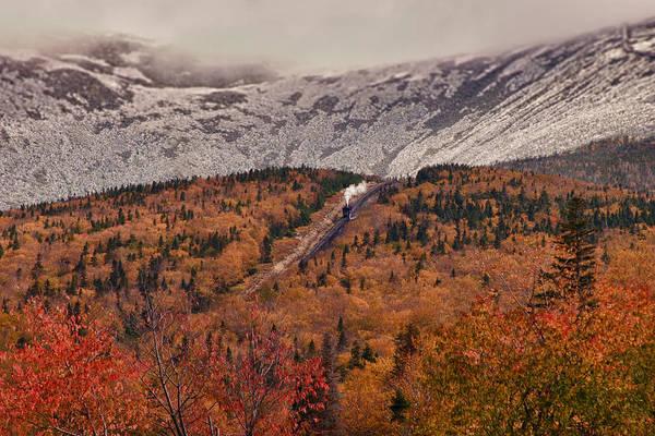 View Of Autumn Foliage From The Mount Washington Cog Railway Train Art Print