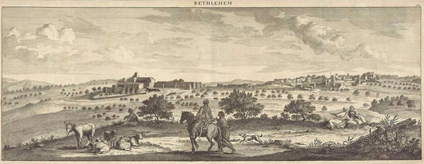 Bethlehem Drawing - View Of Bethlehem, Israel, Print Maker Jan Luyken by Israel And Jan Luyken And Pieter Schenk I And Cornelis De Bruyn